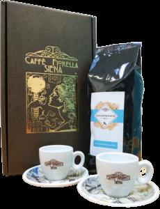 Gift box con 1 pacco da 500gr. di caffè a scelta e 2 tazzine o tazze Caffè Fiorella